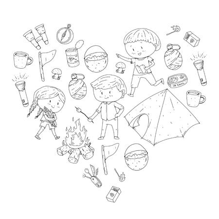 子供の夏のキャンプ幼稚園、子供たちとの学校休暇夏とスピングアウトドアアドベンチャーキッズ描画スタイル若いスカウトは、森林ハイキングや  イラスト・ベクター素材