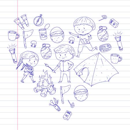 Camping d'été pour enfants Maternelle, vacances scolaires avec les enfants Sping outdoor adventure Style de dessin pour enfants Jeunes explorateurs explorant la forêt Randonnée et tourisme Banque d'images - 94297700
