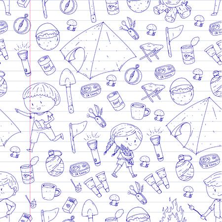 Camping d'été pour enfants Maternelle, vacances scolaires avec les enfants Sping outdoor adventure Style de dessin pour enfants Jeunes explorateurs explorant la forêt Randonnée et tourisme Banque d'images - 94298191