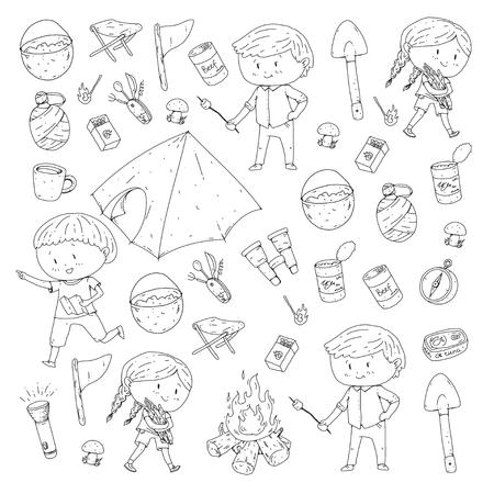子供の夏のキャンプ幼稚園、子供たちとの学校休暇春のアウトドアアドベンチャーキッズ描画スタイル若いスカウトは、森林ハイキングや観光を探