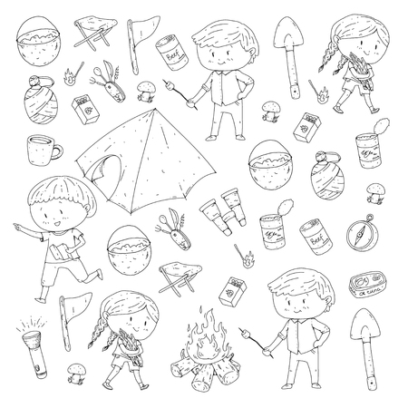 Children summer camping Kindergarten, school vacation with kids Spring outdoor adventure Kids drawing style Young scouts explore forest Hiking and tourism