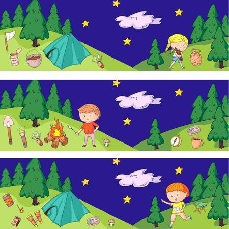 Children camping. Summer camp. Scouts, adventure, hiking, exploration. School and kindergarten kids. Children drawing Kids drawing illustration style Vectores