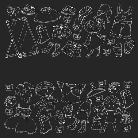 子供服幼稚園の男の子と女の子の服新しい服のコレクション。  イラスト・ベクター素材
