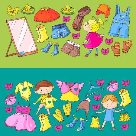 어린이 의류 유치원 소년과 소녀 옷. 일러스트