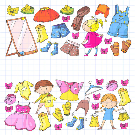 Children clothing Kindergarten boys and girls with clothes New clothing collection. 向量圖像