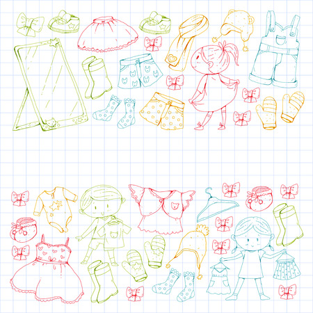 Children clothing Kindergarten boys and girls with clothes. Illustration