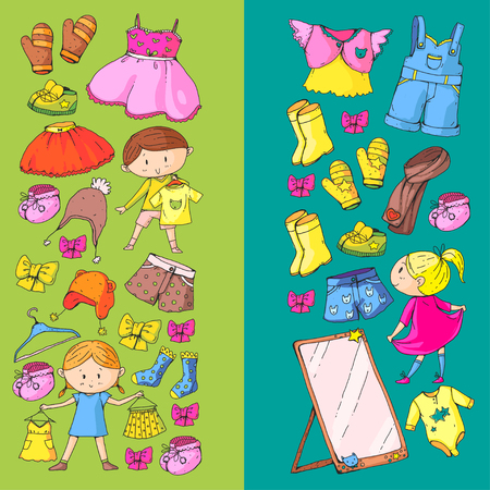 Children clothing Kindergarten boys and girls with clothes New clothing collection Dresses, trousers, shoes, hats, caps, gloves, scarf. Princess dress Foto de archivo - 94339882