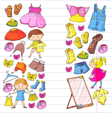 Children clothing Kindergarten boys and girls with clothes. 向量圖像
