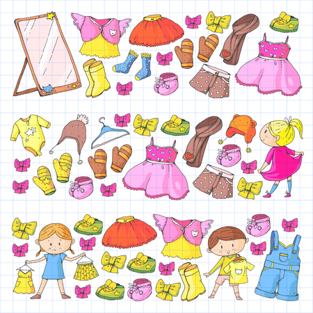 子供たちは幼稚園の男の子と女の子の服を着ます。