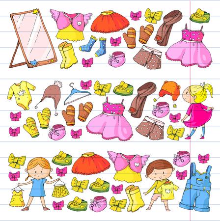 Kinderkleidung Kindergarten Jungen und Mädchen mit Kleidung Neue Kleidungskollektion Kleider, Hosen, Schuhe, Hüte, Mützen, Handschuhe, Schal. Prinzessinenkleid Standard-Bild - 94340152