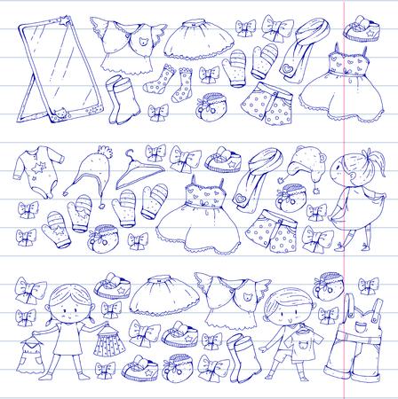 Roupas para crianças Meninos e meninas do jardim de infância com roupas Novas coleções de roupas Vestidos, calças, sapatos, chapéus, bonés, luvas, cachecol. Vestido de princesa Foto de archivo - 94340259