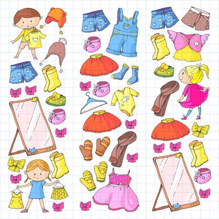 子供服幼稚園の男の子と女の子の服 新しい服のコレクション ドレス、ズボン、靴、帽子、帽子、手袋、スカーフ。プリンセスドレス  イラスト・ベクター素材