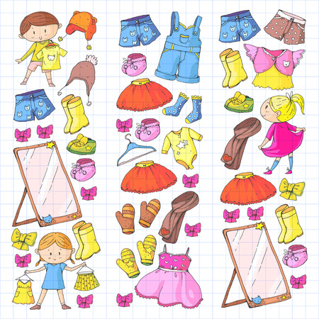 Children clothing Kindergarten boys and girls with clothes New clothing collection Dresses, trousers, shoes, hats, caps, gloves, scarf. Princess dress