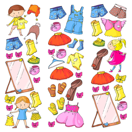 Children clothing Kindergarten boys and girls with clothes New clothing collection Dresses, trousers, shoes, hats, caps, gloves, scarf. Princess dresses  イラスト・ベクター素材