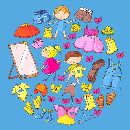Children clothing Kindergarten boys and girls with clothes New clothing collection Dresses, trousers, shoes, hats, caps, gloves, scarf. Princess dresses Illustration