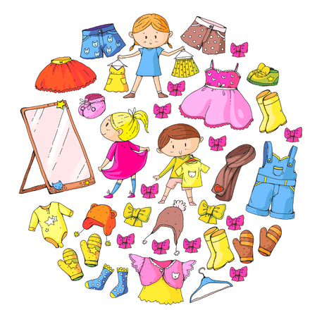 Children clothing Kindergarten boys and girls with clothes New clothing collection Dresses, trousers, shoes, hats, caps, gloves, scarf. Princess dresses Foto de archivo - 94342450