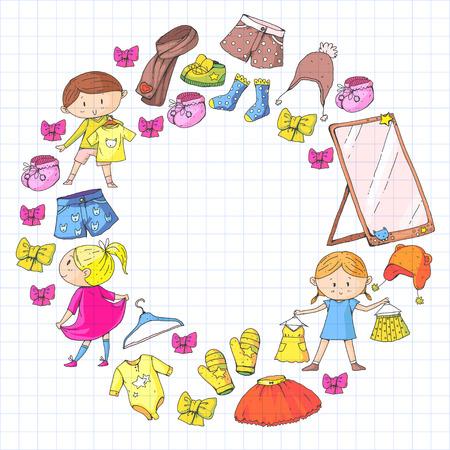 Roupas para crianças Meninos e meninas do jardim de infância com roupas Novas coleções de roupas Vestidos, calças, sapatos, chapéus, bonés, luvas, cachecol. Vestidos de princesa Foto de archivo - 94342454