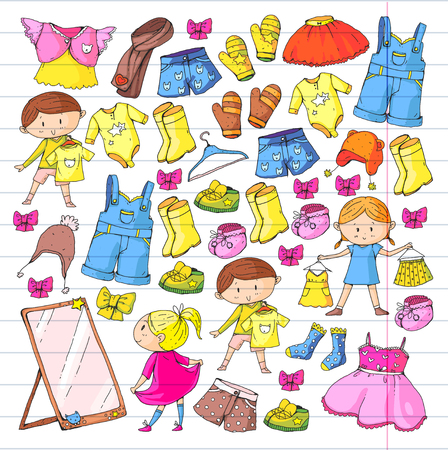 Children clothing Kindergarten boys and girls with clothes New clothing collection Dresses, trousers, shoes, hats, caps, gloves, scarf. Princess dresses Foto de archivo - 94342517