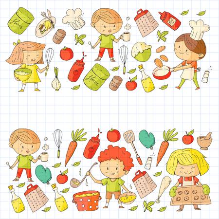 Cute children cooking food. Kindergarten and school kids. Kids drawing.