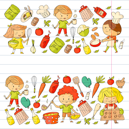 Cute children cooking food. Kindergarten and school kids. Kids drawing. Cooking class. Children cafe and restaurants. Eat and play. Healthy drinks. Fruits, vegetables, bakery.