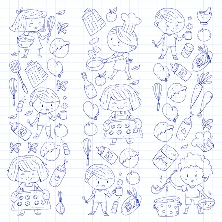 Cute children cooking food, kindergarten and school kids. Kids drawing, cooking class children cafe and restaurants. Eat and play, healthy drinks, fruits, vegetables, bakery. Illustration
