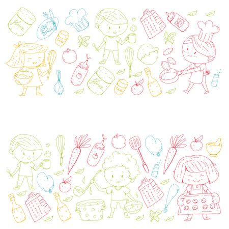 Chilren menu, kids cafe, restaurant. Kindergarten and preschool, school boys and girls Healthy food and drink Bakery fruits vegetables Cooking classes. Illustration