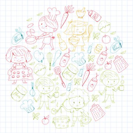 Children menu for kids cafe, restaurant. Illustration