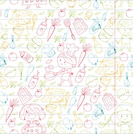Chilren menu, kids cafe, restaurant. Kindergarten and preschool, school boys and girls Healthy food and drink Bakery fruits vegetables Cooking classes. Illustration