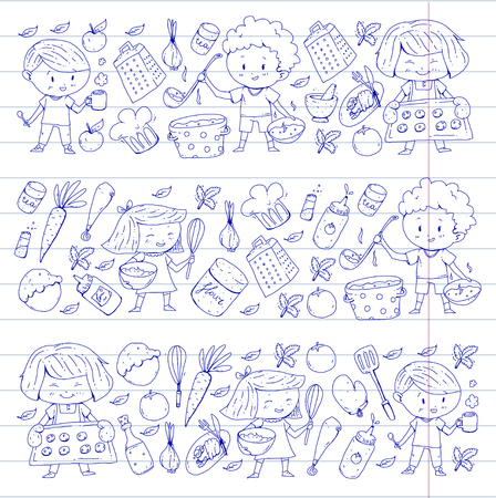 Cute children cooking food. Kindergarten and school kids. Kids drawing. Cooking class. Children cafe and restaurant. Eat and play. Healthy drinks. Fruits, vegetables, bakery
