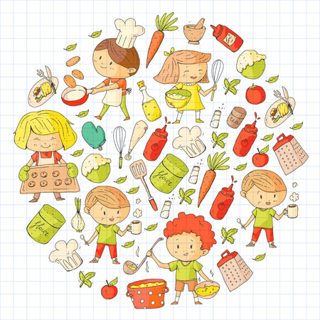 Cute children cooking food. Kindergarten and school kids. Kids drawing. Cooking class. Children cafe and restaurants. Eat and play. Healthy drinks. Fruits, vegetables, bakery Stockfoto - 94646414