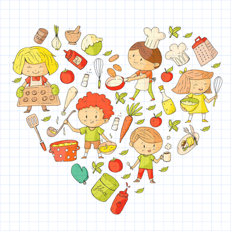 Cute children cooking food. Kindergarten and school kids. Kids drawing. Cooking class. Children cafe and restaurants. Eat and play. Healthy drinks. Fruits, vegetables, bakery