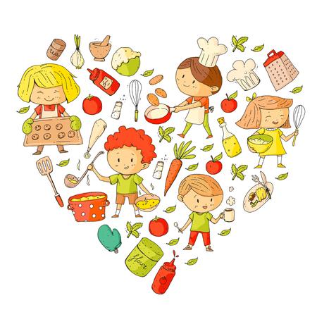 Enfants mignons cuisson des aliments. Maternelle et écoliers. Dessin d'enfants. Cours de cuisine. Café et restaurant pour enfants. Manger et jouer Boissons saines. Fruits, légumes, boulangerie Banque d'images - 94648833