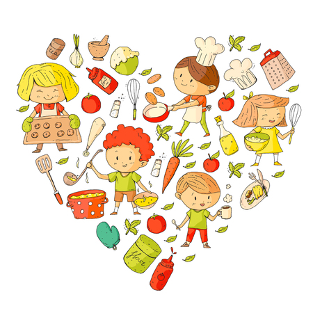 Leuke kinderen die voedsel koken. Kleuterschool en schoolkinderen. Kinderen tekenen. Kookles. Kindercafé en restaurant. Eet en speel. Gezonde dranken. Fruit, groenten, bakkerij