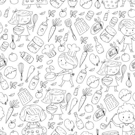 Enfants mignons cuisson des aliments. Maternelle et écoliers. Dessin d'enfants. Cours de cuisine. Café d'enfants et restaurants. Manger et jouer Boissons saines. Fruits, légumes, boulangerie Banque d'images - 94647596