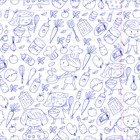 Cute children cooking food. Kindergarten and school kids. Kids drawing. Cooking class. Children cafe and restaurant. Eat and play. Healthy drinks. Fruits, vegetables, bakery. Seamless pattern