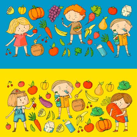 Crianças. Escola e jardim de infância. Comida saudável e bebidas. Café de crianças. Frutas e vegetais. Meninos e meninas comem alimentos saudáveis e lanches. Vector doodle padrão pré-escolar com desenho de crianças de desenhos animados Foto de archivo - 94691940