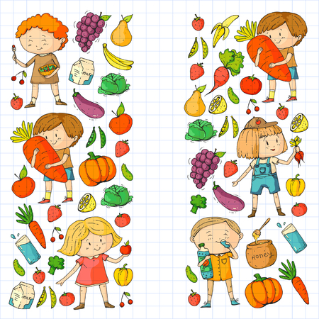 Children. School and kindergarten. Healthy food and drinks. Kids cafe. Fruits and vegetables. Boys and girls eat healthy food and snacks. Vector doodle preschool pattern with cartoon kids drawing