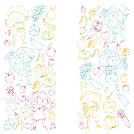 School and kindergarten with Healthy food and drinks.  イラスト・ベクター素材