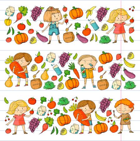 Kinderen. School en kleuterschool. Gezond eten en drinken. Kindercafé. Fruit en groenten. Jongens en meisjes eten gezond voedsel en snacks. Vector doodle voorschoolse patroon met tekenfilms kinderen tekenen