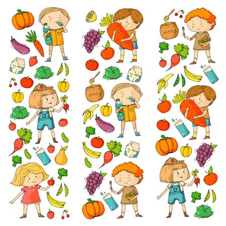 School and kindergarten with Healthy food and drinks. Ilustração