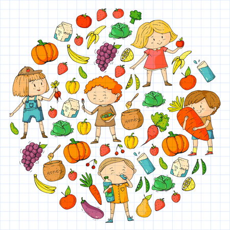 Children. School and kindergarten. Healthy food and drinks. Kids cafe. Fruits and vegetables. Boys and girls eat healthy food and snacks. Vector doodle preschool pattern with cartoons kids drawing Stock Vector - 94692612