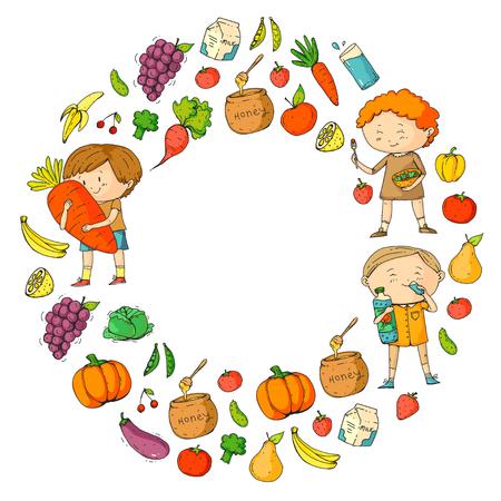Niños. Escuela y jardín de infantes. Alimentos y bebidas saludables. Cafetería para niños. Frutas y vegetales. Los niños y las niñas comen alimentos y bocadillos saludables. Vector doodle preescolar patrón con dibujos animados niños dibujo