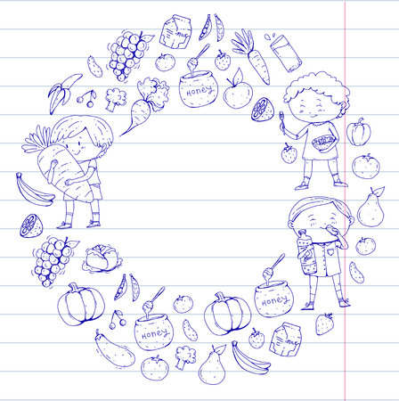 Children. School and kindergarten. Healthy food and drinks. Kids cafe. Fruits and vegetables. Boys and girls eat healthy food and snacks. Vector doodle preschool pattern with cartoons kids drawing Banque d'images - 94781999
