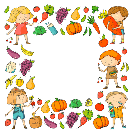 Children. School and kindergarten. Healthy food and drinks. Kids cafe. Fruits and vegetables. Boys and girls eat healthy food and snacks. Vector doodle preschool pattern with cartoons kids drawing Stok Fotoğraf - 94782001