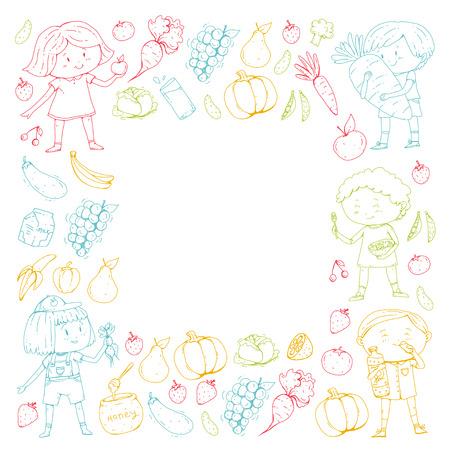 Healthy food and drinks for Kids cafe on colorful presentation. Ilustração