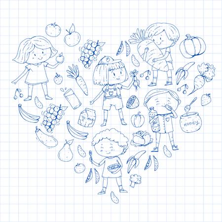 Vector doodle preschool pattern with cartoon kids drawing Ilustracja