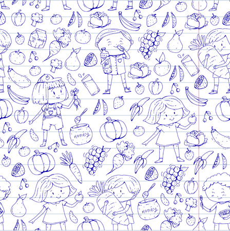 Children. School and kindergarten. Healthy food and drinks. Kids cafe. Fruits and vegetables. Boys and girls eat healthy food and snacks. Vector doodle preschool pattern with cartoons kids drawing