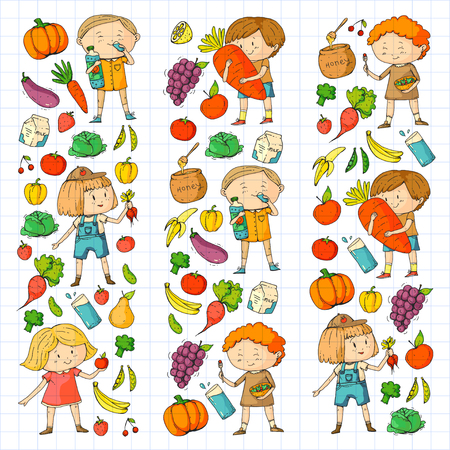 Children. School and kindergarten. Healthy food and drinks. Kids cafe. Fruits and vegetables. Boys and girls eat healthy food and snacks. Vector doodle preschool pattern with cartoons kids drawing Banque d'images - 94923372