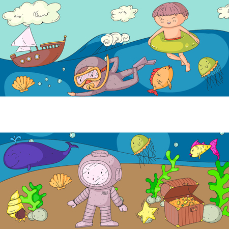 Sea and ocean adventure Kindergarten, preschool, school children. Kids aquapark. Underwater. Mermaid, octopus, fishes, whale, shells, jelly fish. Lost treasures. Scuba. Pirate ship. Diving, snorkeling