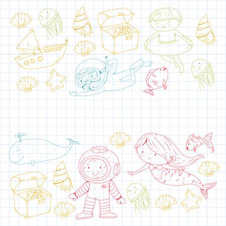 Meer und Ozean Abenteuer Kindergarten Vorschulkinder Kinder Kinder leben Unterwasser Polka Marshmallows Steine ? ? machen Fische Spinner Camping jagen Glück Spinner Tauchen Schnorcheln Standard-Bild - 94689928